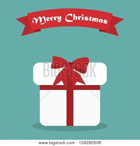 Cristmas gift with shadow and ribbon in a flat design