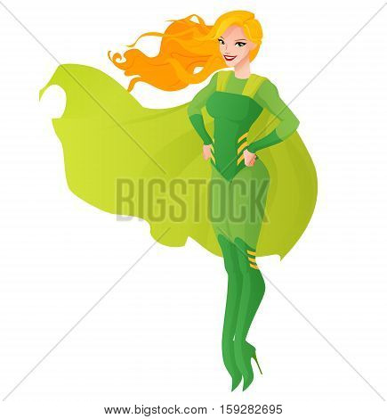 Beautiful redhead superhero woman in green outfit flying. Cartoon vector illustration isolated on white background.