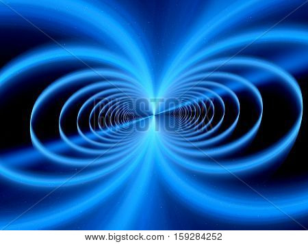 Blue glowing magnetic field fractal computer generated abstract background 3D rendering