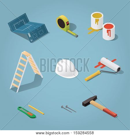 Isometric vector renovation tools set illustration. Toolbox: blueprint plan, buckets with paint, paint roller, helmet, hammer, nails, knife, tape-measure, pencil. Repair & construction concept.