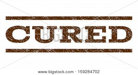 Cured watermark stamp. Text tag between horizontal parallel lines with grunge design style. Rubber seal brown stamp with dirty texture. Vector ink imprint on a white background.