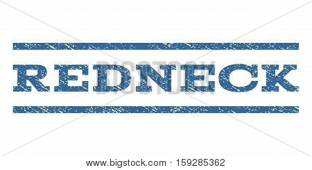 Redneck watermark stamp. Text tag between horizontal parallel lines with grunge design style. Rubber seal cobalt blue stamp with dirty texture. Vector ink imprint on a white background.