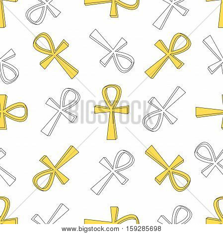 Ankh symbol pattern. Vector egyptian cross pattern isolated on white.