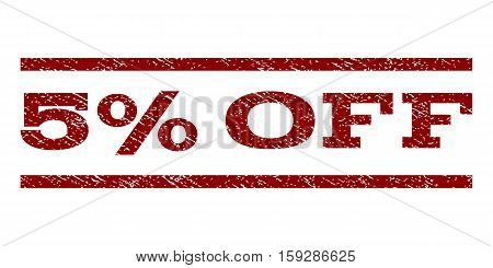 5 Percent Off watermark stamp. Text caption between horizontal parallel lines with grunge design style. Rubber seal dark red stamp with unclean texture. Vector ink imprint on a white background.