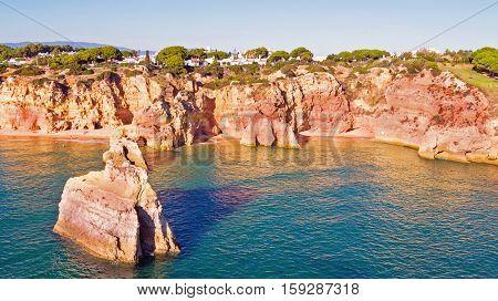 Natural rocks at Alvor in the Algarve Portugal