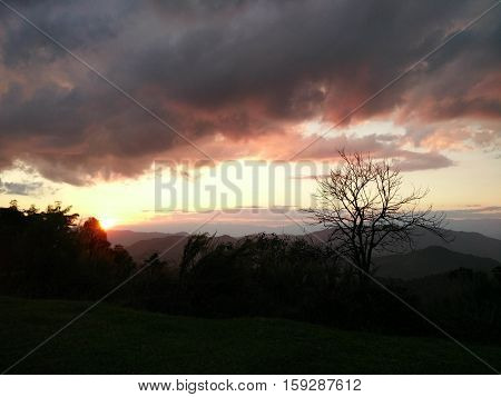 Evening Sunlight With  Fantastic Sky Clouds Behind Mountain And Tree, Landscape