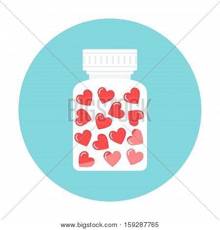 Heart Pills in White Container. Love, Therapy, Counseling Illustration. Vector Design