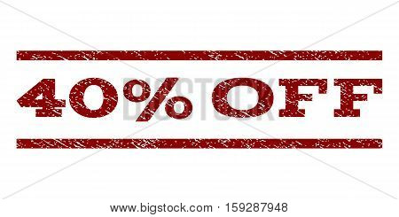 40 Percent Off watermark stamp. Text caption between horizontal parallel lines with grunge design style. Rubber seal dark red stamp with unclean texture. Vector ink imprint on a white background.