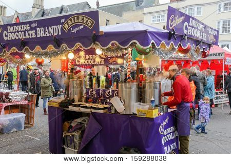 Broad Street Oxford UK 27th November 2016: Baileys Chocolate Brandy Christmas stall on Oxford's Christmas Light Festival