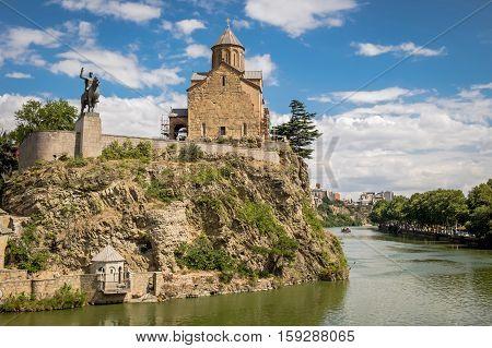 Metekhi Church And Monument Of King Vakhtang I Gorgasali In Tbilisi