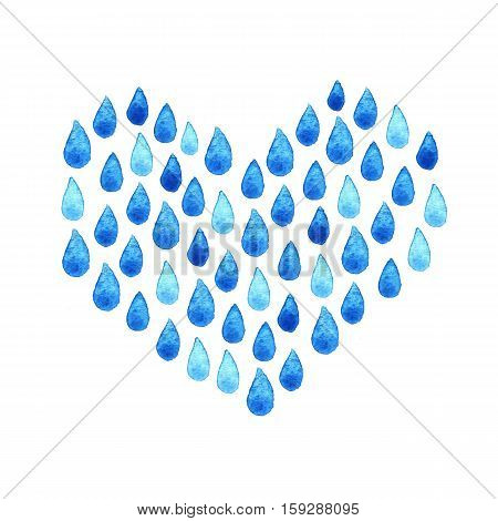 Watercolor rainy heart. Charity Water poster. Watercolor hand painted social drawing. Raindrop seamless background. Wallpaper creative watercolor fabric blue wrapping with water drops ornaments - template for design.