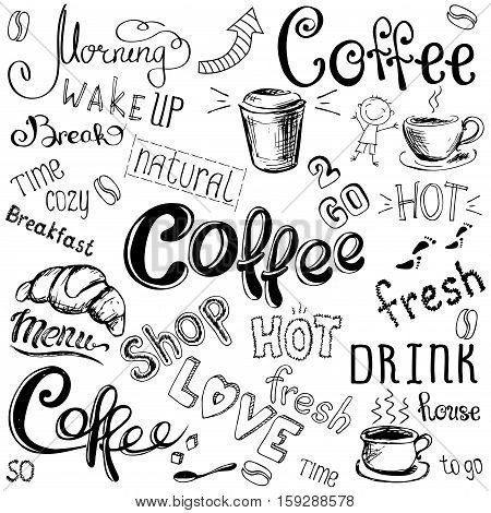 Vector illustration hand drawn coffee to go, cups, mugs, beans and lettering types . Black on white background