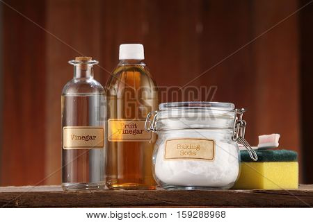 baking soda and apple cider vinegar and white vinegar