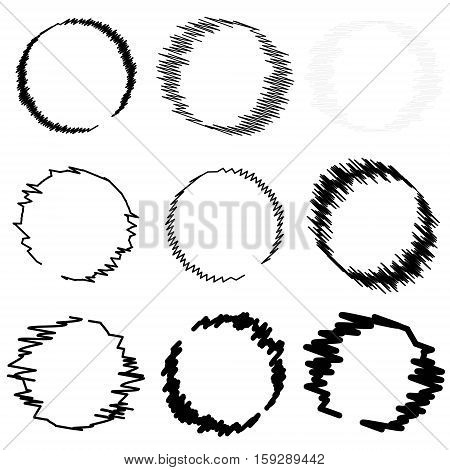set the circle drawn by the circles shaded with a brush, abstract photo frames, vector