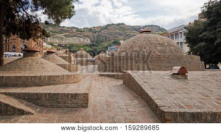 Roofs Of Baths In Ancient District Of Tbilisi Abanotubani