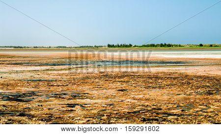 Panorama of Lake Retba near Dakar Senegal