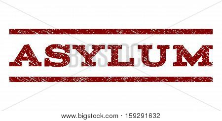 Asylum watermark stamp. Text tag between horizontal parallel lines with grunge design style. Rubber seal dark red stamp with scratched texture. Vector ink imprint on a white background.