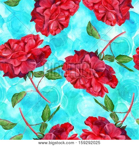 A seamless pattern with a watercolor drawing of a blooming red rose, hand painted on a teal blue background in the style of vintage botanical art