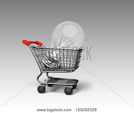 Shopping Cart With Large Light Bulb, 3D Rendering