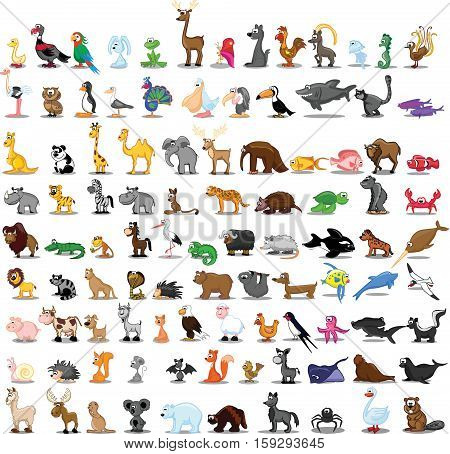 Set of 100 cute cartoon animals,illustration picture for your design