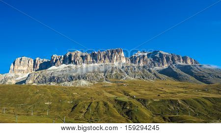Piz Boe, The Highest Peak Of The Sella Group Mountain Range In The Dolomites, Italy
