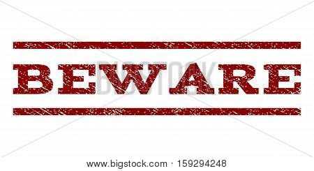 Beware watermark stamp. Text tag between horizontal parallel lines with grunge design style. Rubber seal dark red stamp with unclean texture. Vector ink imprint on a white background.
