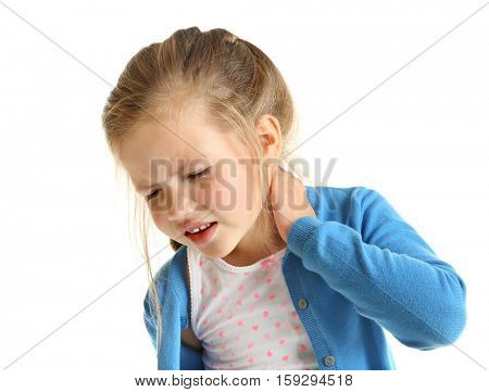 Cute little girl having neck pain, isolated on white