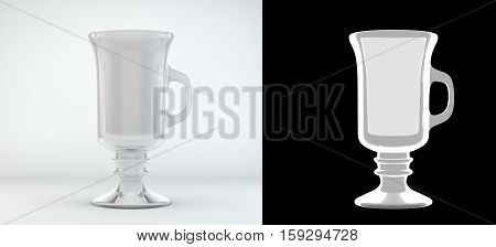 Empty latte glass isolated on white 3d render with an alpha channel