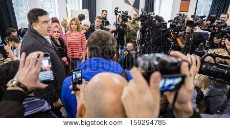 Mikhail Saakashvili On Briefing For Press