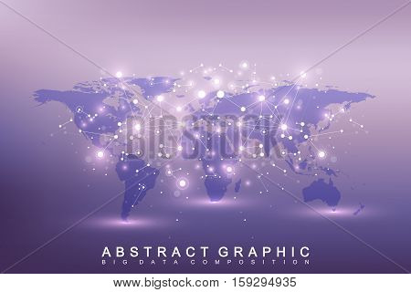 Geometric graphic background communication. Big data complex with compounds. Perspective backdrop with World Map. Minimal array Big data. Digital data visualization. Scientific vector illustration