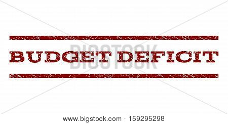 Budget Deficit watermark stamp. Text tag between horizontal parallel lines with grunge design style. Rubber seal dark red stamp with dust texture. Vector ink imprint on a white background.