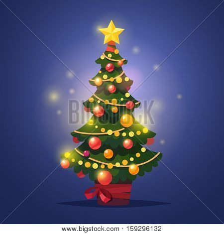 Glowing decorated winter christmas tree with star, festoon and decor balls standing in a pot with red ribbon. Flat style isolated vector illustration.