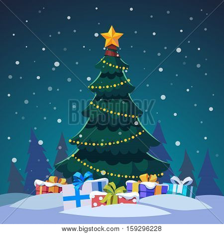 Star and light bulb chain decorated christmas tree with gift boxes standing in the night forest. Flat style isolated vector illustration.