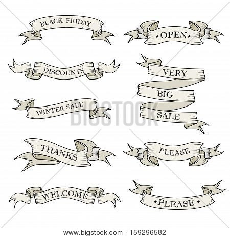 White ribbon banners set. Beautiful blank for decoration graphic. Old vintage style Flat design. Template collection labels Vector illustration