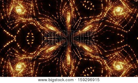 Kaleidoscope Lights bulb, gold glowin Light. Fractal background