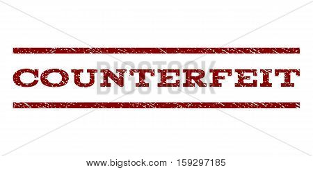 Counterfeit watermark stamp. Text tag between horizontal parallel lines with grunge design style. Rubber seal dark red stamp with unclean texture. Vector ink imprint on a white background.
