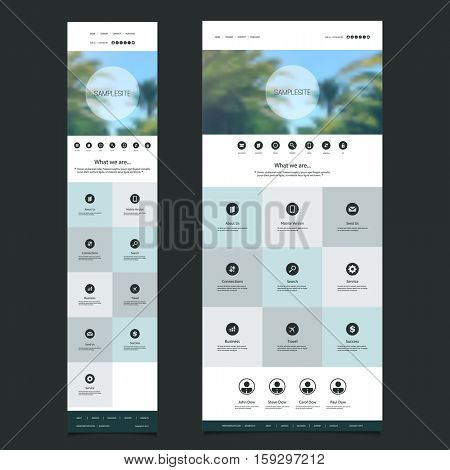 Responsive One Page Website Template with Blurred Background - Palm Trees Header Design - Desktop and Mobile Version