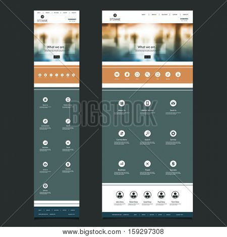 Responsive One Page Website Template with Blurred Background - People in Underground  Header Design - Desktop and Mobile Version