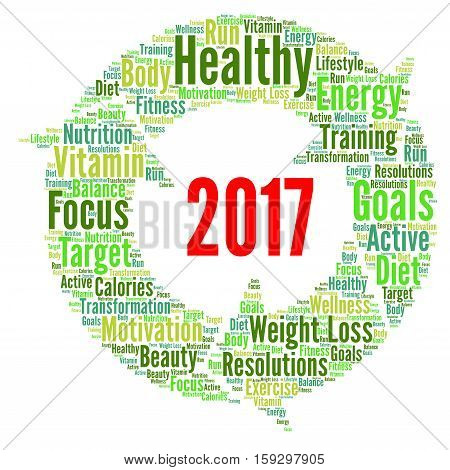 Healthy resolutions 2017 word cloud with a white background