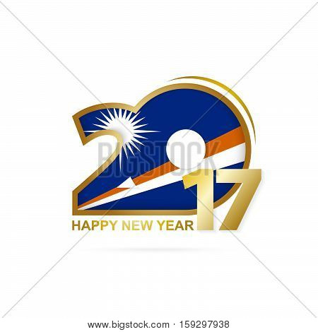 Year 2017 With Marshall Islands Flag Pattern. Happy New Year Design On White Background.