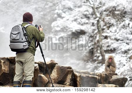 Japanese man taking photos by professional digital camera in Snow Monkey, Japan