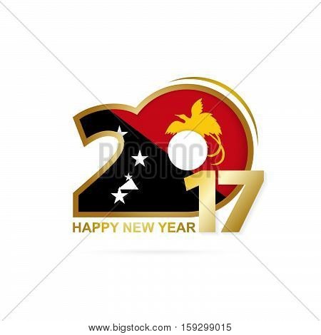 Year 2017 With Papua New Guinea Flag Pattern. Happy New Year Design On White Background.
