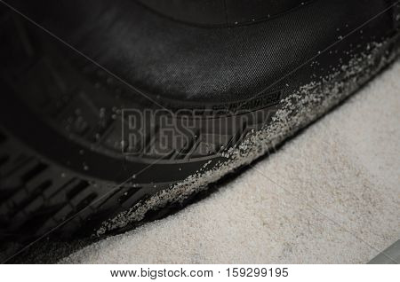 Tire of a off-road veichle on a sand