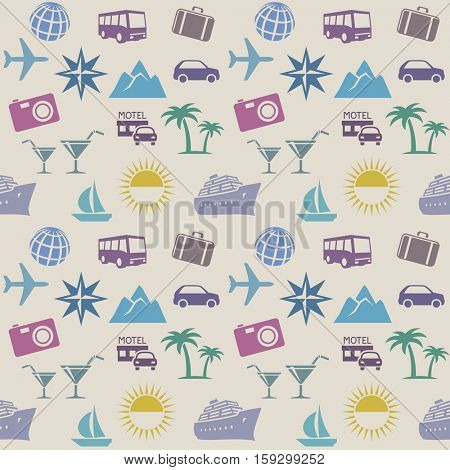 Seamless wallpaper pattern with travel icons