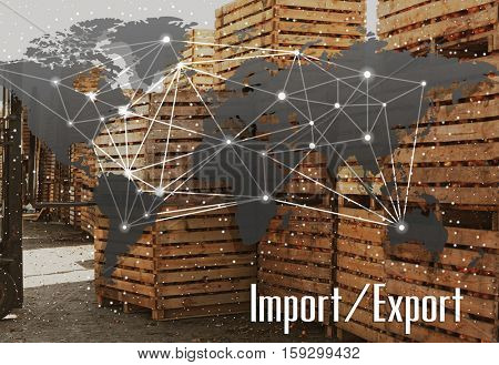 World map and text IMPORT/EXPORT on background. Wooden crates with harvest, outdoor. Wholesale and logistics concept.