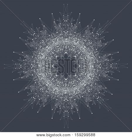 Fractal element with compounds lines and dots. Big data complex. Graphic abstract background communication. Minimal array Big data. Digital data visualization. Lines plexus. Vector illustration
