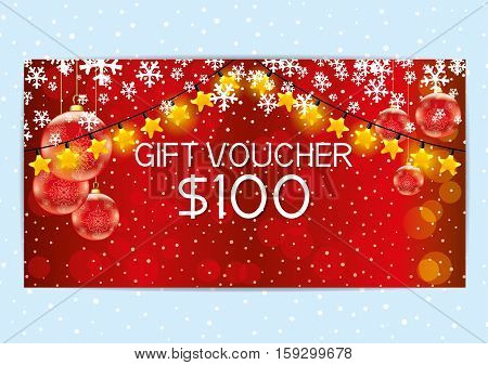 Christmas and New Year red gift voucher with garlands.