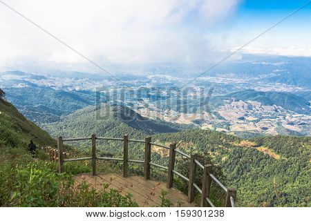 Beautiful blue sky and cloud viewpoint from high mountain Thailand.
