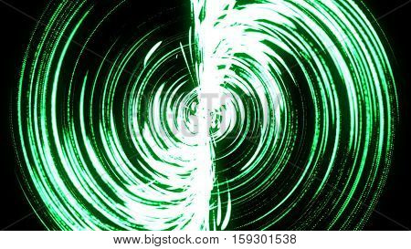 Abstract background with green swirl particles. Art background