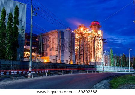 Oil-gas tanks at night,refinery,industry,Architecture of Industry boiler in Oil Refinery Plant